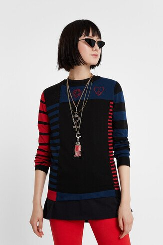 Fine gauge asymmetric stripes sweater