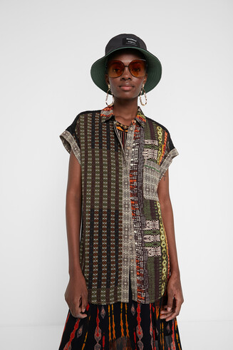 Camisa màniga curta sanefa africana