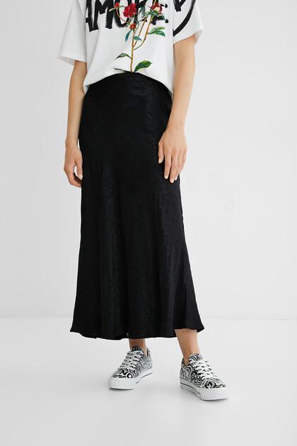 Textured motif midi skirt