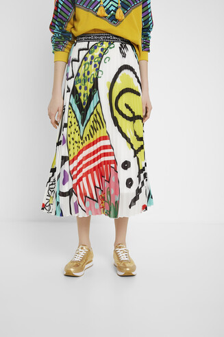 Arty pleated midi skirt