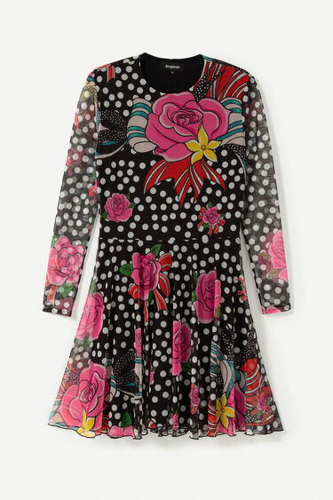 Short semitransparent dress | Desigual