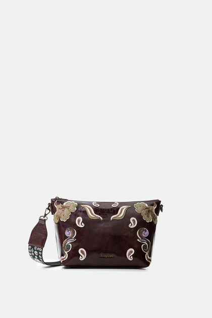 Sling bag embroidered leather effect