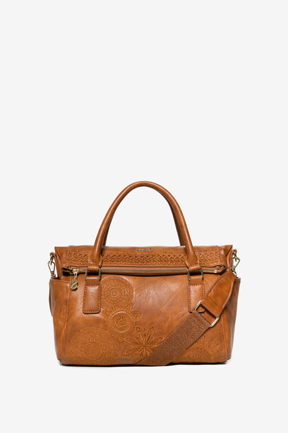 Borsa ricami in similpelle