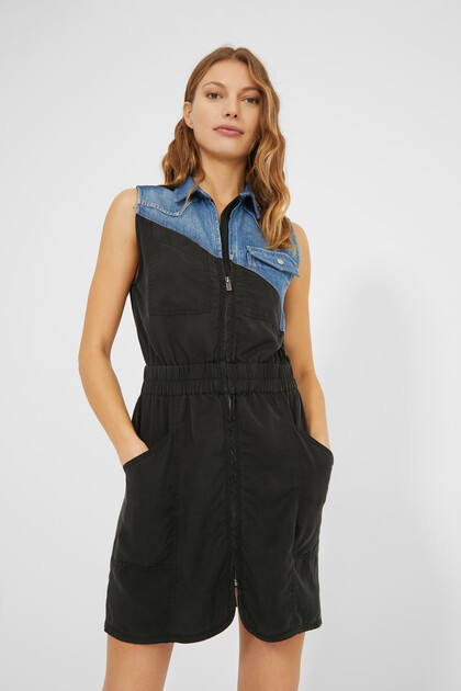 Bimaterial short dress