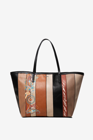 Basket bag with PU leather strips