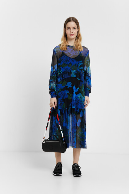 Midi dress of gauze with floral camouflage