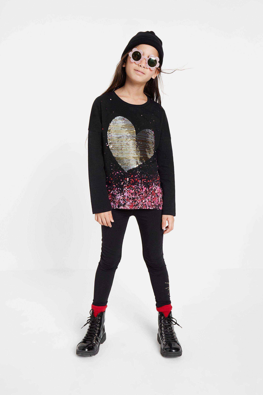 Camiseta de manga larga con lentejuelas plateadas DESIGUAL