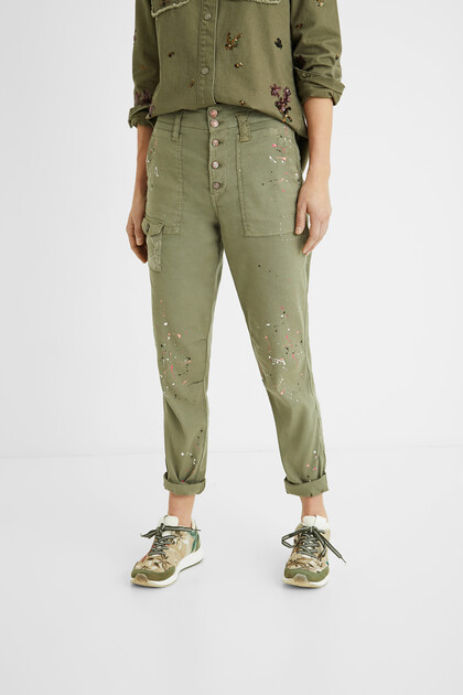 Comfort fit trousers paint stains
