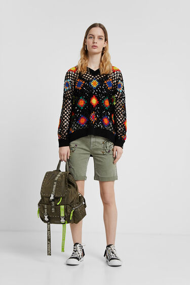 Pantalons curts brodat floral | Desigual