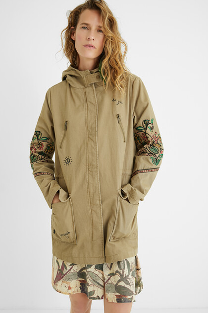Hooded parka flowers