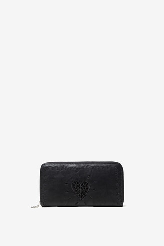 Rectangular wallet, embroidered heart
