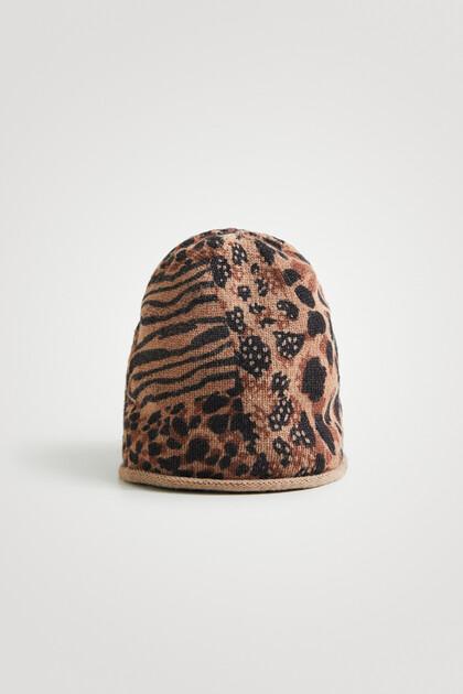 Bonnet en maille patch animal print