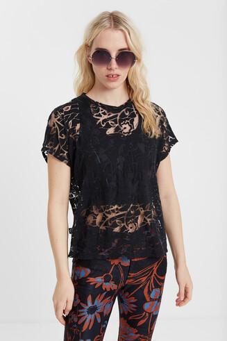 Półprzezroczysta koszulka organiczna w kwiaty z tkaniny devore