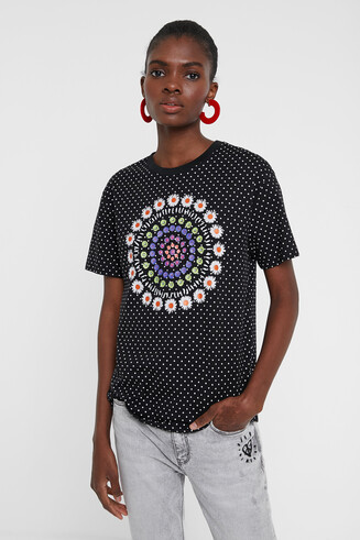 Polka dots and mandala T-shirt
