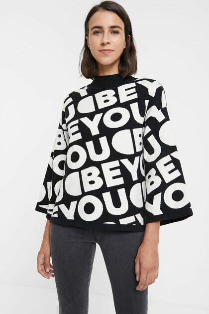 Sweter z dzianiny trykotowej o luźnym kroju w deseń typu lettering