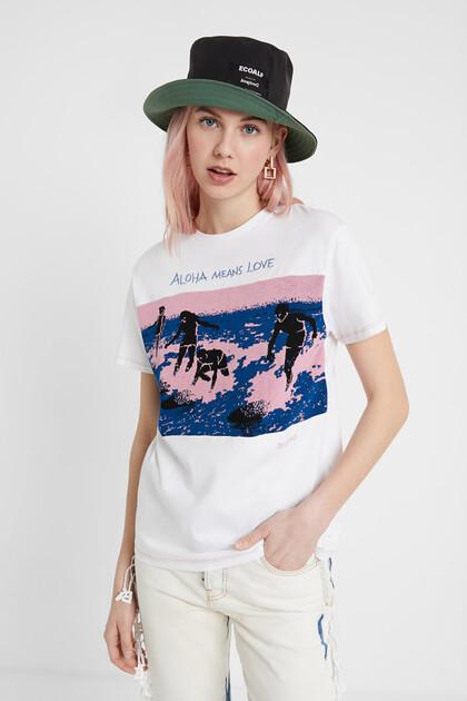 T-shirt estampado estilo surfista