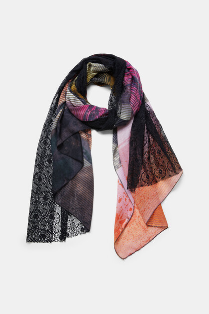 Rectangular double print foulard