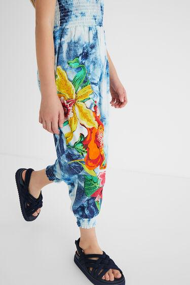 Długi kombinezon z bawełny w kwiaty z efektem tie-dye | Desigual