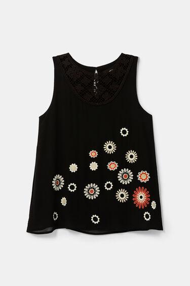 Bluse mit Häkelblumen und Mandalas | Desigual