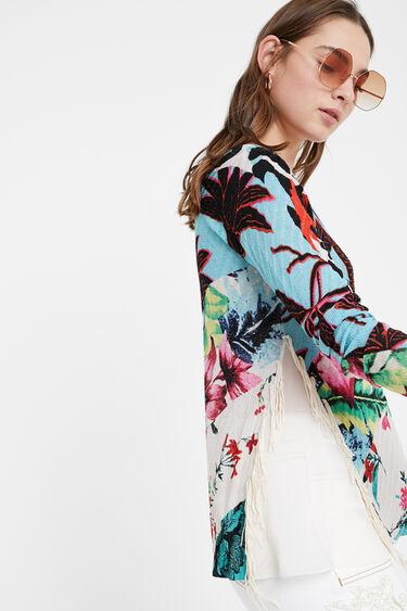 Pullover mit Animal-Print und Fransen | Desigual