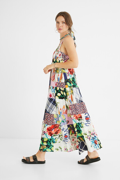 Lange jurk met patchwork