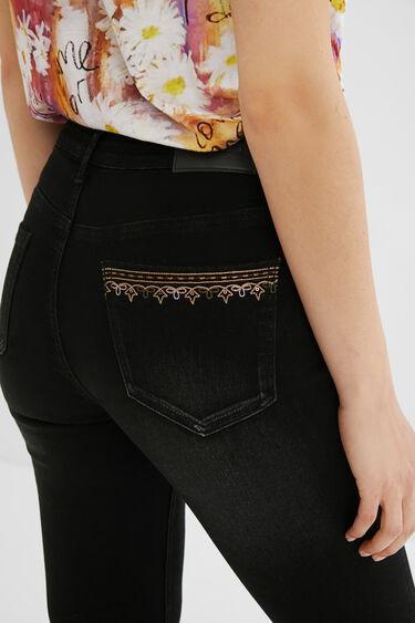 Skinny jeans met borduursels | Desigual