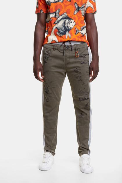 Plush and denim hybrid trousers