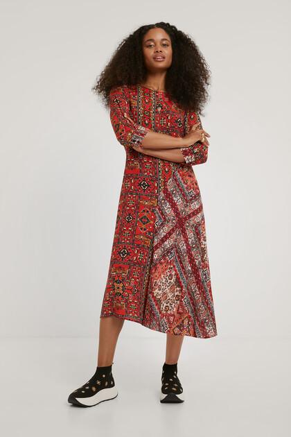 Vestido viscosa estampado étnico