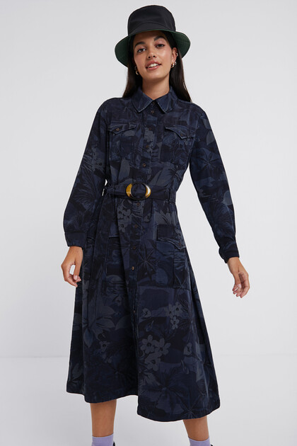 Long flared shirt dress