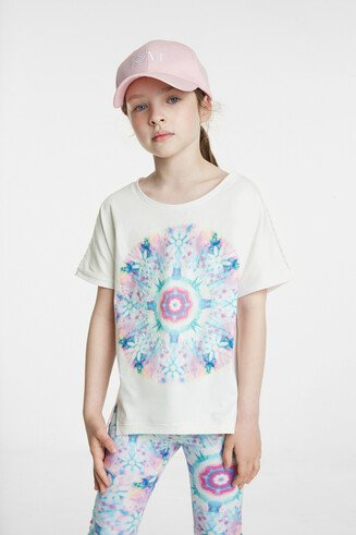 Organic T-shirt with floral mandala