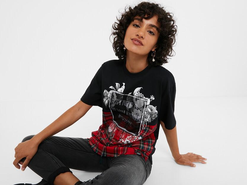 T-shirt oversize tartan