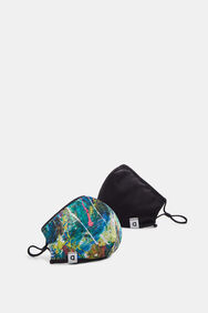 Watercolour-effect reversible mask + pouch | Desigual