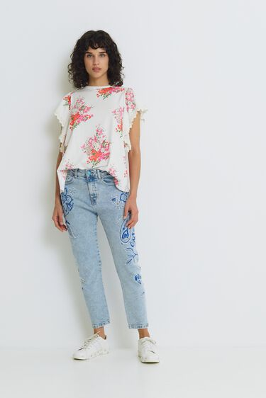Flounced T-shirt floral | Desigual