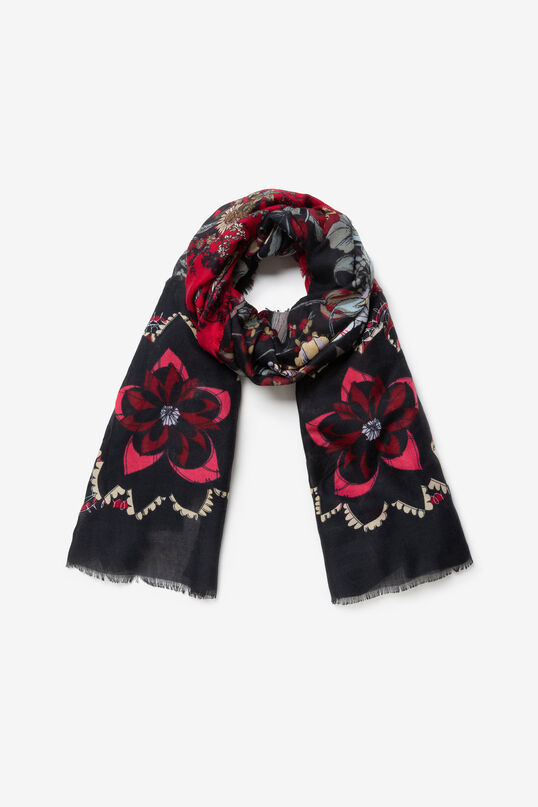 Frayed rectangular scarf | Desigual