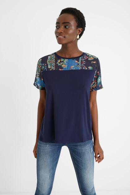 T-shirt bi-matière tulle mandalas