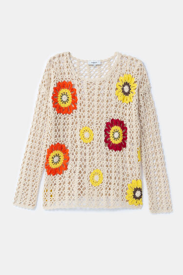 Knit and floral crochet jumper | Desigual