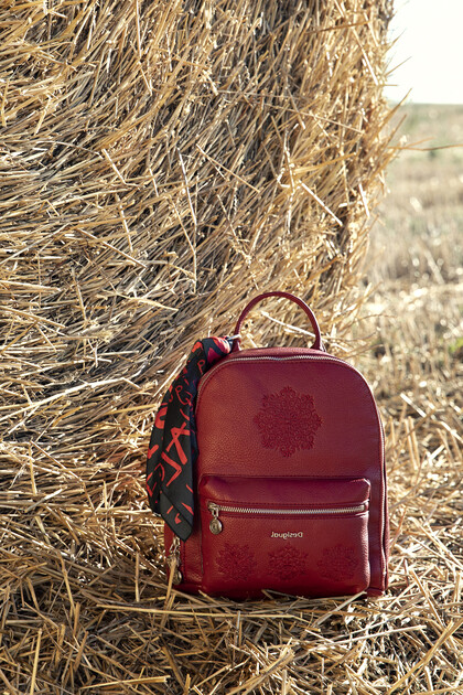 Embroidered backpack with scarf