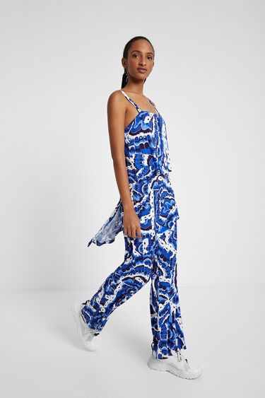 Layered jumpsuit in water effect | Desigual