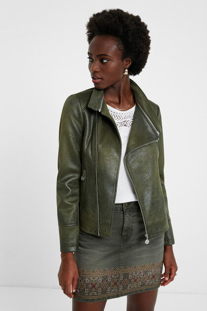 Biker jacket embossed mandala