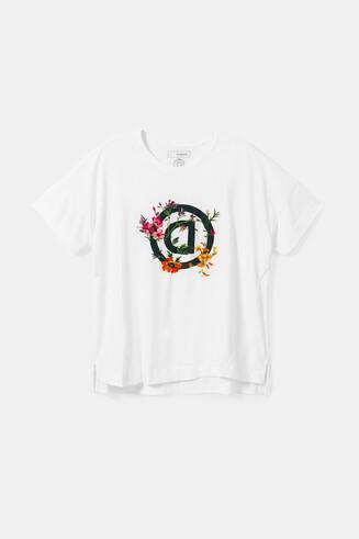 """Koszulka organiczna z odwróconą literą """"D"""" w kwiaty"""