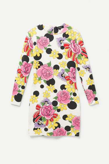 Short elastic floral dress | Desigual