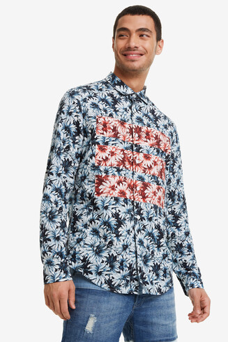 Blue Floral Print Shirt Emilio