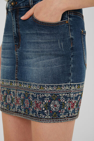 Embroidered denim mini-skirt | Desigual