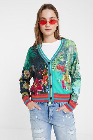 Tropical print cardigan jumper