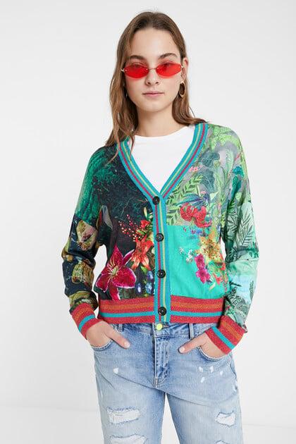 トロピカルプリント セーター風カーディガン