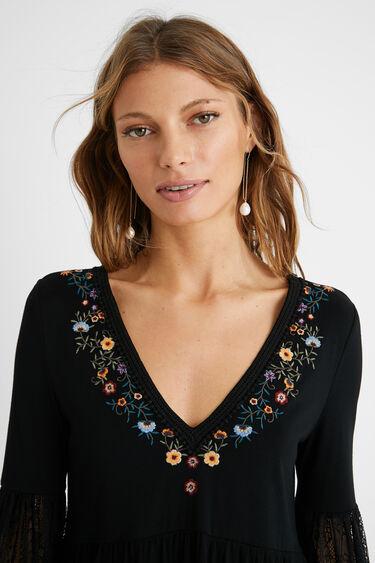 Flounced T-shirt flowers | Desigual