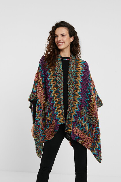 Poncho caftan maille