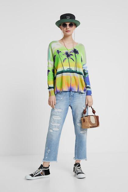 ハワイアンプリント 薄手セーター