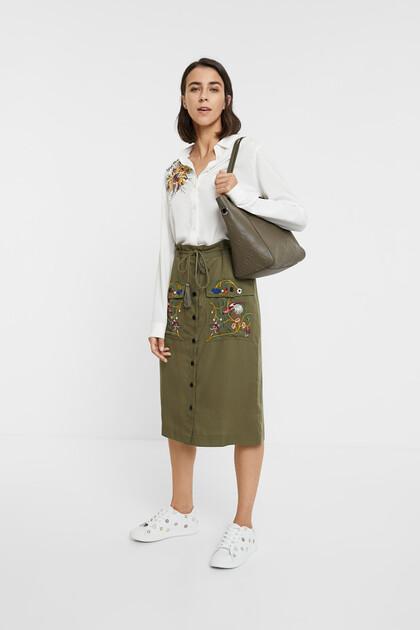 Embroidered tube skirt