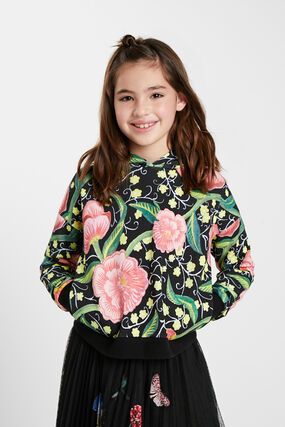 Sweat-shirt capuche fleurs